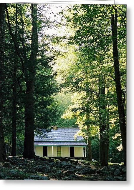 Alfred Reagan Greeting Cards - The Alfred Reagan Cabin Gatlinburg Greeting Card by John Saunders