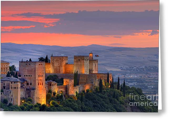 The Alhambra At Sunset Greeting Card by Guido Montanes Castillo