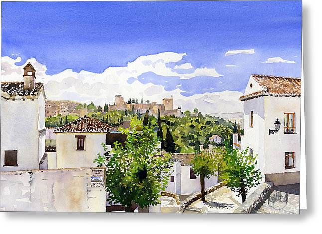 The Alhambra From The Albaicin Greeting Card by Margaret Merry