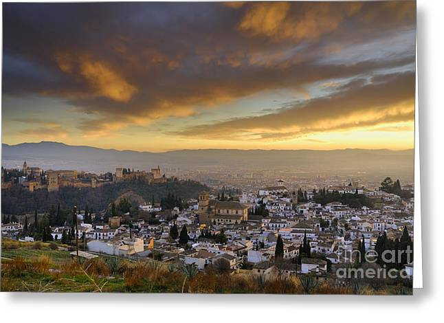 Alhambra Greeting Cards - The Alhambra Granada and Albaicin at sunset Greeting Card by Guido Montanes Castillo