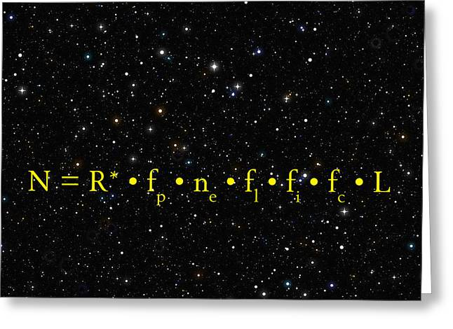 Roddenberry Greeting Cards - THE ALIEN EQUATION - SCIENTIFIC ESTIMATE of TECHNO ALIEN CIVILIZATIONS Greeting Card by Daniel Hagerman
