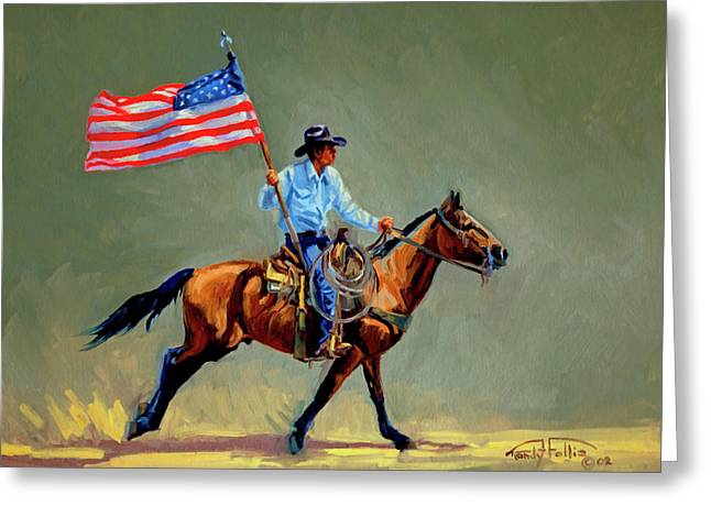 The All American Cowboy Greeting Card by Randy Follis