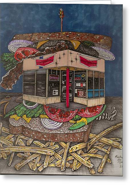 Fries Drawings Greeting Cards - The All Star Sandwich Bar Greeting Card by Richie Montgomery
