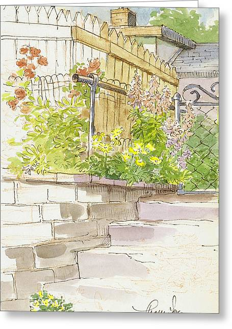 Stepping Stones Mixed Media Greeting Cards - The Alley Stairway Greeting Card by Tracie Thompson
