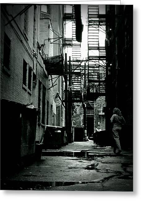 Seedy Greeting Cards - The Alleyway Greeting Card by Michelle Calkins