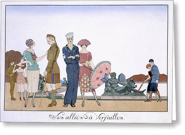 Aged Print Greeting Cards - The Allies in Versailles Greeting Card by Georges Barbier