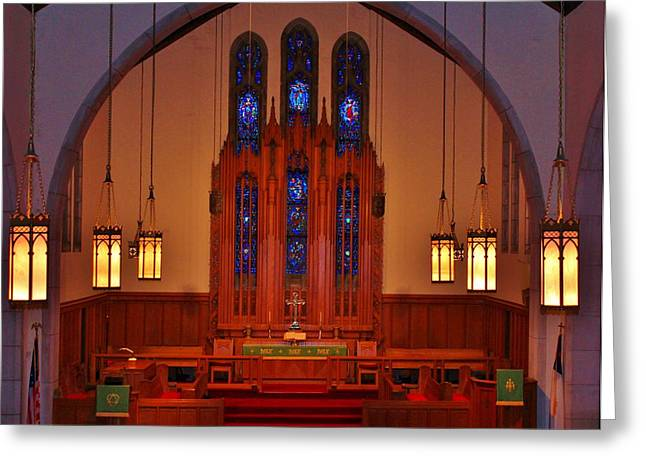 Wooden Building Greeting Cards - The Altar Greeting Card by Cynthia Guinn