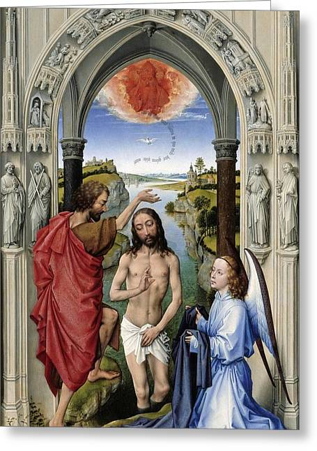 Renaissance Center Paintings Greeting Cards - The Altar of St. John - center panel Greeting Card by Rogier van der Weyden
