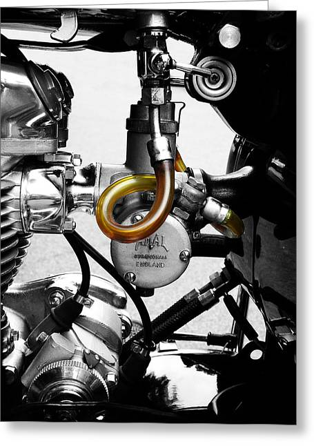 Motorcycles Greeting Cards - The Amal Carb Greeting Card by Mark Rogan