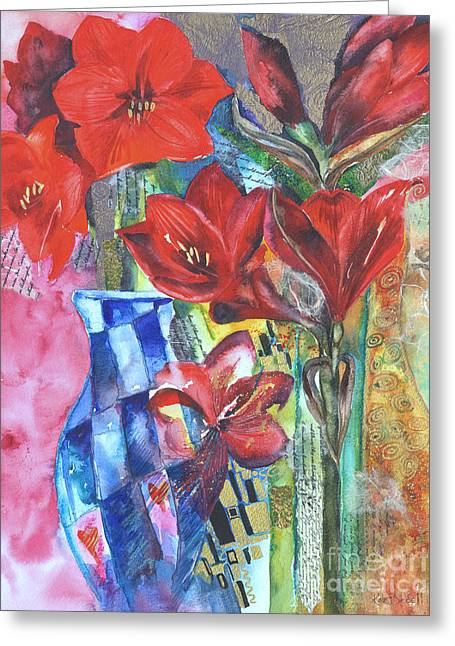 Kate Bedell Greeting Cards - The Amaryllis Affair Greeting Card by Kate Bedell