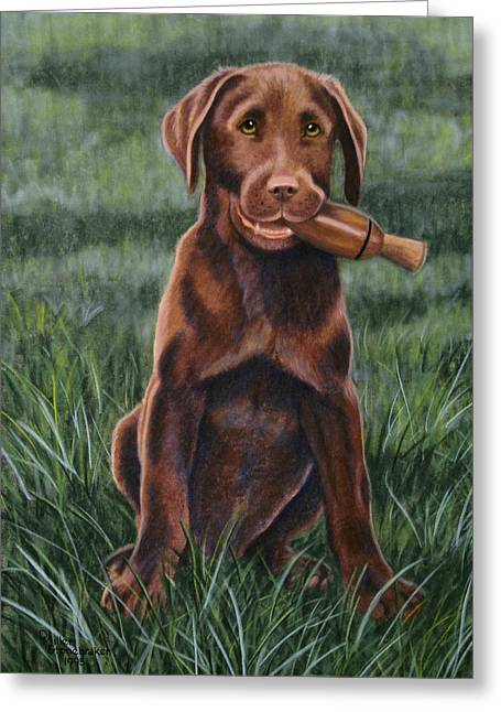 Chocolate Lab Pastels Greeting Cards - The Amateur Greeting Card by Debbie Stonebraker