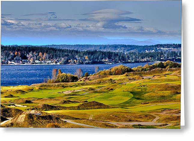 Chambers Bay Golf Course Greeting Cards - The Amazing Chambers Bay Golf Course - Site of the 2015 U.S. Open Golf Tournament Greeting Card by David Patterson