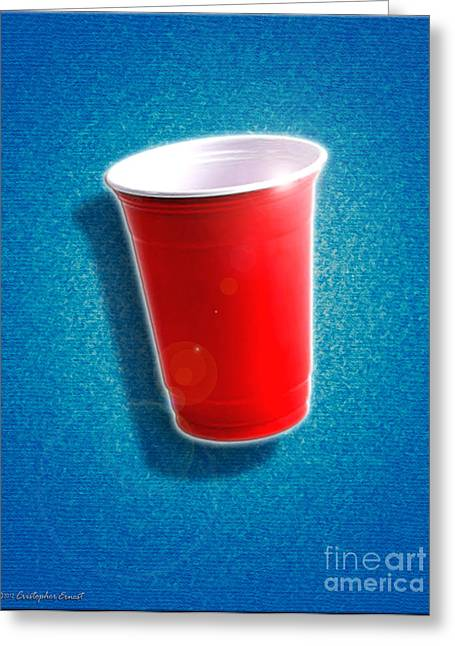 Toby Greeting Cards - The Amazing Red Solo Cup Greeting Card by Cristophers Dream Artistry