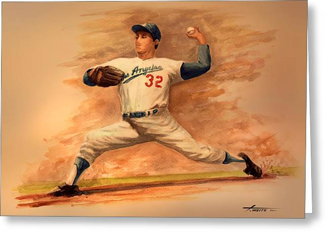 The Amazing Sandy Koufax Greeting Card by Todd White