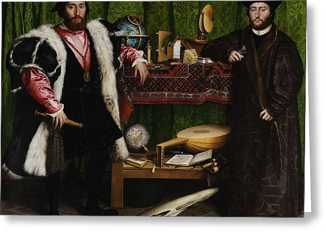 Lute Paintings Greeting Cards - The Ambassadors Greeting Card by Hans Holbein the Younger