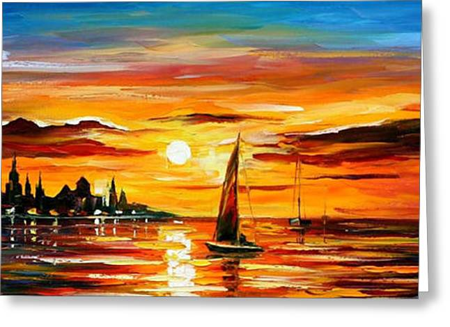 Impressionist Greeting Cards - The Amber Evening - PALETTE KNIFE Oil Painting On Canvas By Leonid Afremov Greeting Card by Leonid Afremov