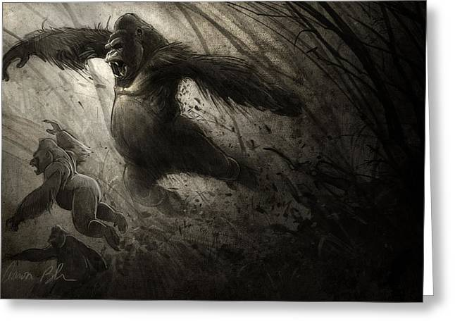 Primates Greeting Cards - The Ambush Greeting Card by Aaron Blaise