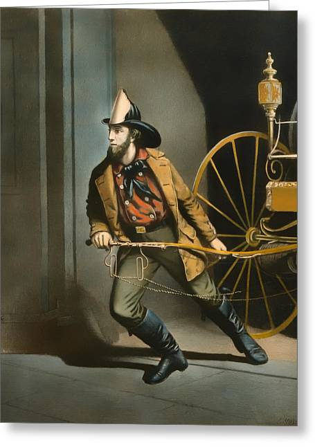 Illustrative Paintings Greeting Cards - The American Fireman 1858 Greeting Card by Louis Mauer