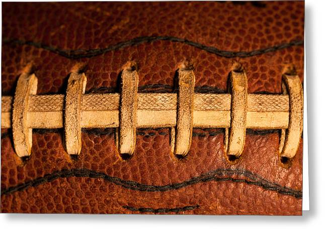 Football Closeup Greeting Cards - The American Football Greeting Card by David Patterson