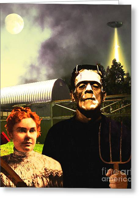 Abduction Digital Art Greeting Cards - The American Gothic Abduction of Frank and Liz by Visitors From Mars DSC912 Greeting Card by Wingsdomain Art and Photography