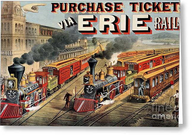Tickets Greeting Cards - The American Railway Scene  Greeting Card by Currier and Ives