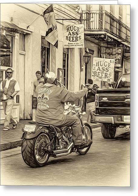 The American Way - Harleys Pickups And Huge Ass Beers - Sepia Greeting Card by Steve Harrington