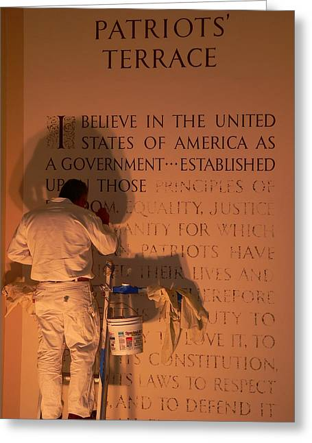 Painter At Work Greeting Cards - The Americans Creed Greeting Card by Jeff Lowe