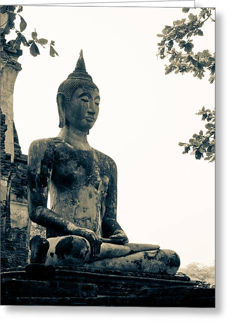 Asia Sculptures Greeting Cards - The ancient city of Ayutthaya Greeting Card by Thosaporn Wintachai