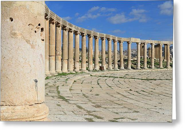 Gcc Greeting Cards - The Ancient City of Jerash Greeting Card by Ash Sharesomephotos