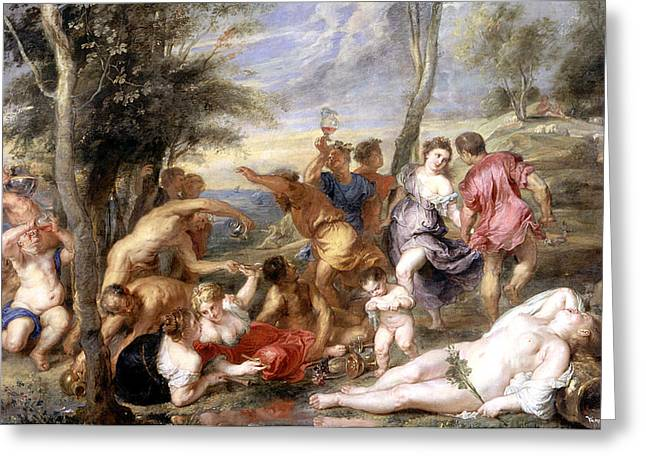 Titian Paintings Greeting Cards - The Andrians a free copy after Titian Greeting Card by Peter Paul Rubens