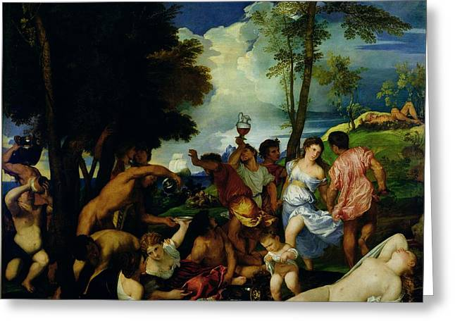 Urinating Greeting Cards - The Andrians, C.1523-4 Oil On Canvas Greeting Card by Titian