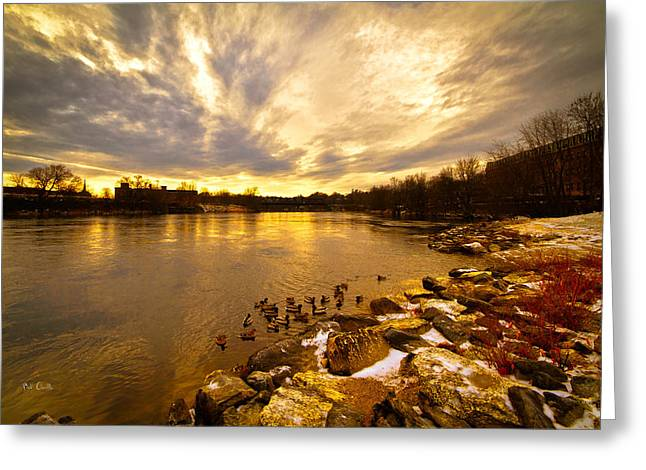 Androscoggin Greeting Cards - The Androscoggin River between Lewiston and Auburn Greeting Card by Bob Orsillo