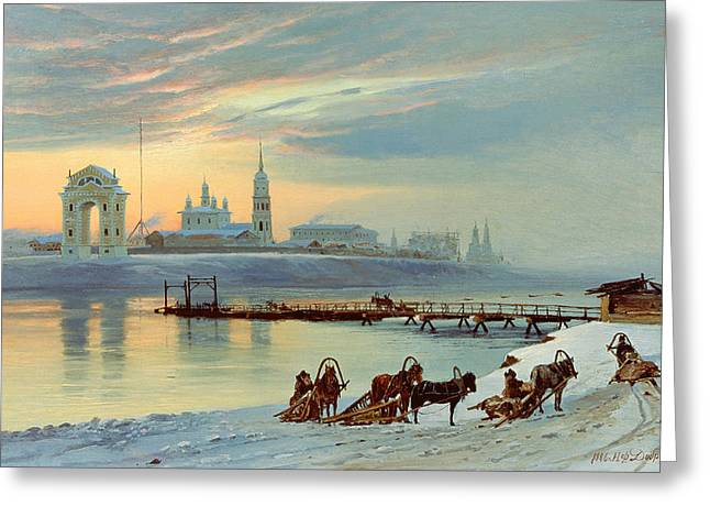 The Angara Embankment In Irkutsk Greeting Card by Nikolai Florianovich Dobrovolsky