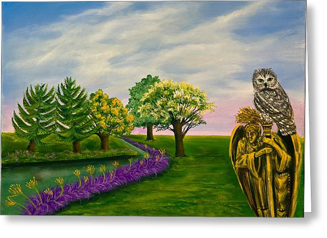 The Angel And The Owl Greeting Card by Susan Culver
