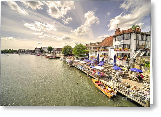 Boats On Water Greeting Cards - The Angel at Henley  Greeting Card by Rob Hawkins