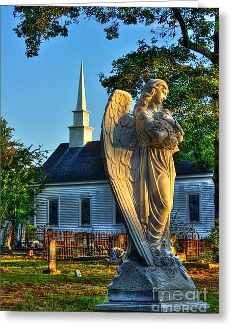 Leach Greeting Cards - The Angel Guardian of Walker United Methodist Church Greeting Card by Reid Callaway