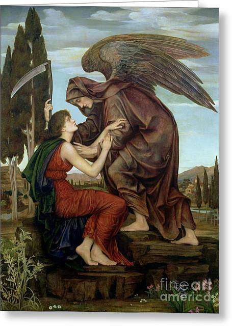 Grim Reaper Greeting Cards - The Angel of Death Greeting Card by Evelyn De Morgan