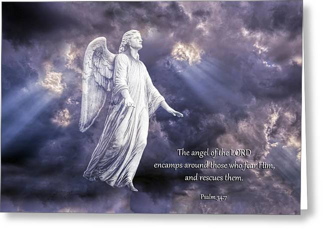 Bible Quotes Greeting Cards - The Angel of the Lord Greeting Card by Bonnie Barry