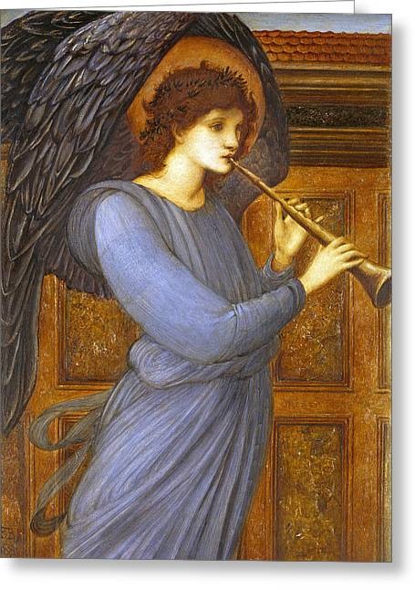 Musical Paintings Greeting Cards - The Angel Greeting Card by Sir Edward Coley Burne-Jones