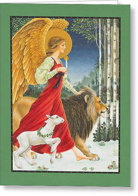 Lion Lamb Greeting Cards - The Angel The Lion and The Lamb Greeting Card by Lynn Bywaters