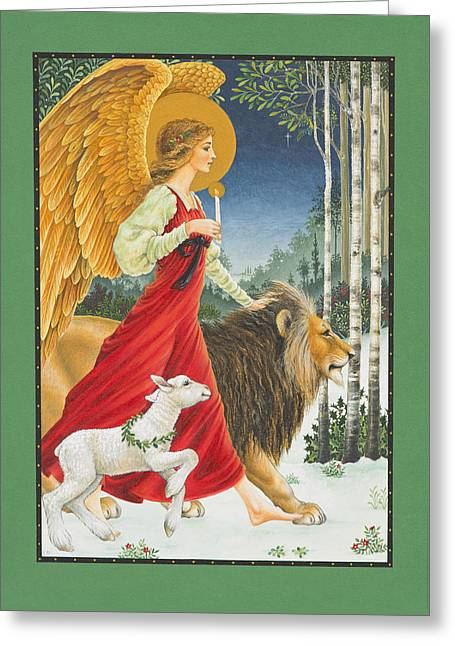 Birch Trees Greeting Cards - The Angel The Lion and The Lamb Greeting Card by Lynn Bywaters