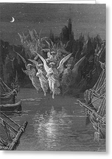 Voyage Drawings Greeting Cards - The angelic spirits leave the dead bodies and appear in their own forms of light Greeting Card by Gustave Dore