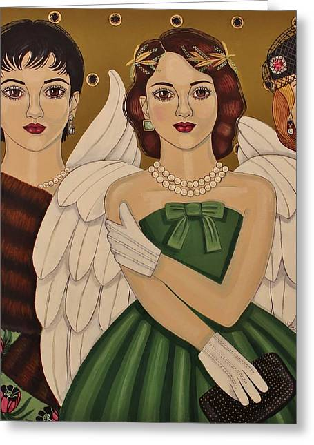 Netting Paintings Greeting Cards - The Angels Among Us Greeting Card by Stephanie Cohen