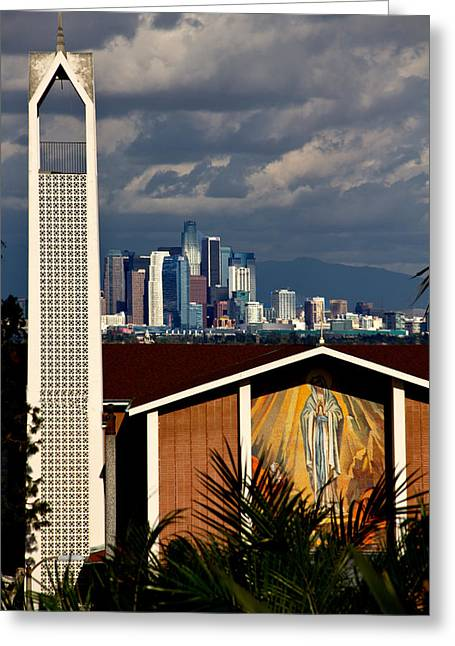 Down Town Los Angeles Greeting Cards - The Angels Greeting Card by David Tuthill