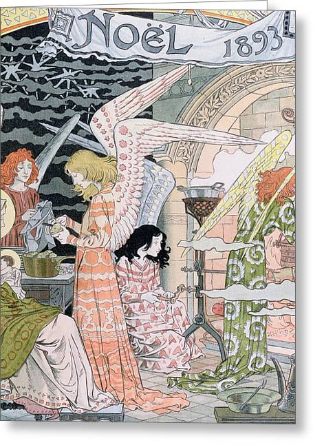 Suckling Greeting Cards - The Angels Kitchen Greeting Card by Eugene Grasset