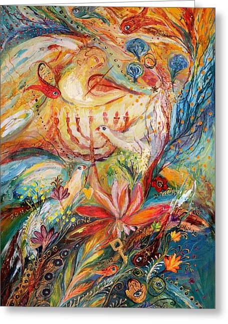 Kabbalistic Greeting Cards - The Angels On Wedding Triptych - right side Greeting Card by Elena Kotliarker