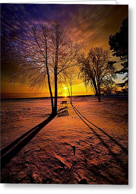 Park Benches Photographs Greeting Cards - The Angels Sang a Whispered Lullaby Greeting Card by Phil Koch
