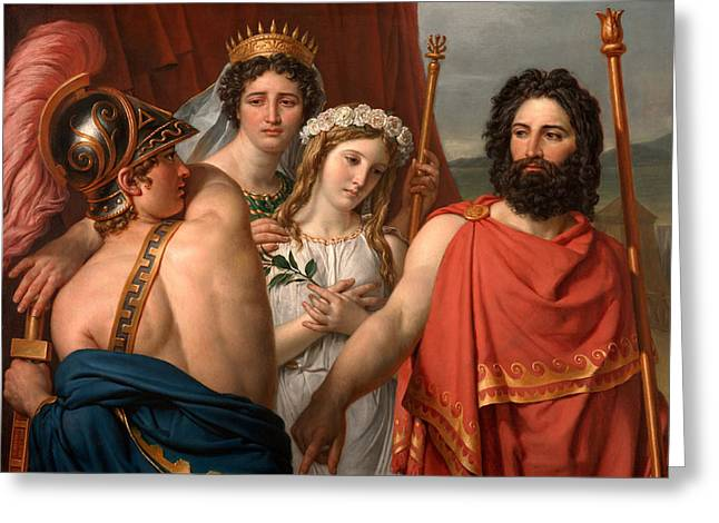 Sacrifice Paintings Greeting Cards - The Anger of Achilles Greeting Card by Jacques-Louis David