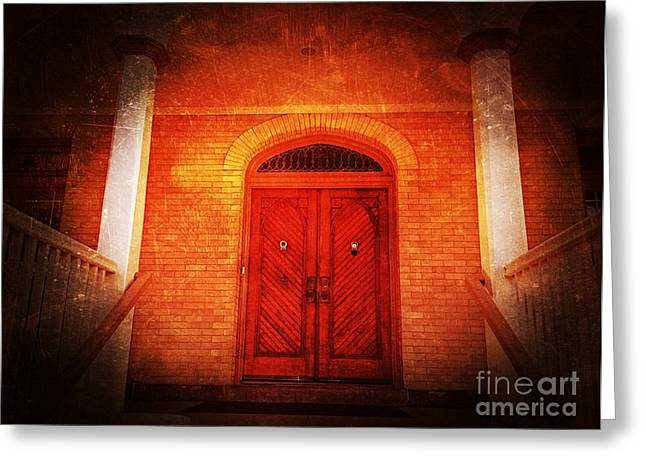 Peep Hole Greeting Cards - The Angry Red Door Greeting Card by Becky Lupe
