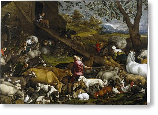 Noahs Ark Paintings Greeting Cards - The Animals Entering Noahs Ark Greeting Card by Jacopo Bassano